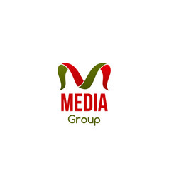 badge for media group vector image