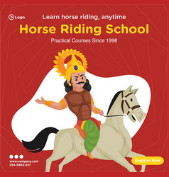 Banner design horse riding school vector