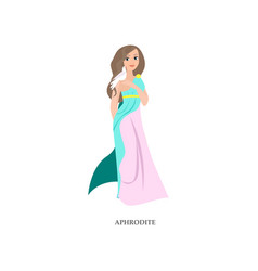 Beautiful greek woman god aphrodite with long vector