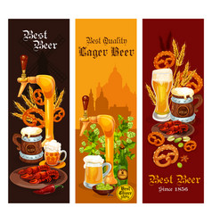 beer lager and ale alcohol drink banner design vector image