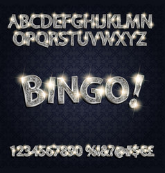Bingo silver glowing alphabet and numbers vector