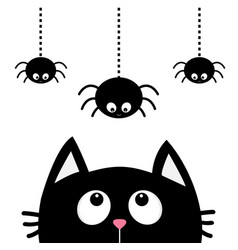 Black cat face head silhouette looking up to vector