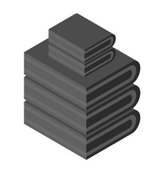 Black towel stack icon isometric style vector