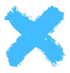 Blue criss cross brushstroke delete sign vector