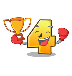 boxing winner number four isolated on the mascot vector image