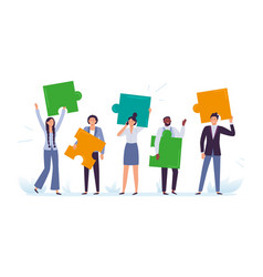 business team with puzzle pieces office workers vector image