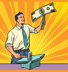 Businessman blacksmith forges dollars money vector