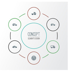 Car outline icons set collection of hatchback vector