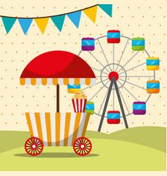 Carnival fair festival booth food and ferris whee vector