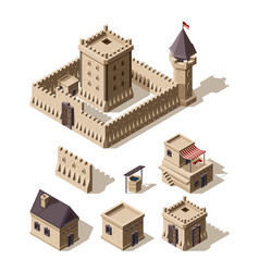 castles isometric medieval historical cartoon vector image