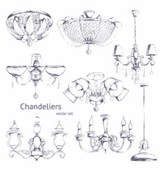 Chandeliers hand drawing set vector
