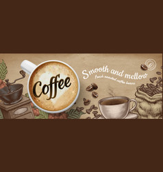 Coffee banner ads with 3d latte and woodcut style vector