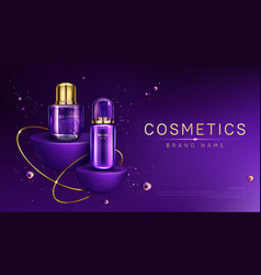 Cosmetics bottles on podium mock up ad banner vector