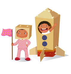 Creative girl playing as astronaut and boy vector