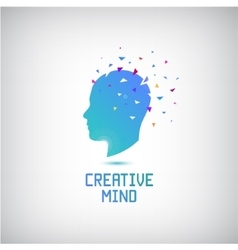 creative mind logo head silhouette vector image