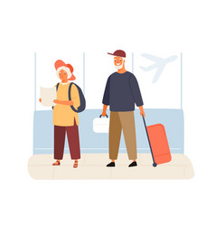 cute elderly couple tourists in airport vector image