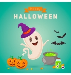Cute ghost making potion vector