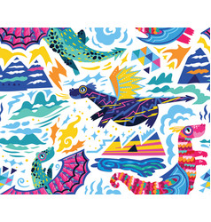 fairy dragons seamless pattern vector image