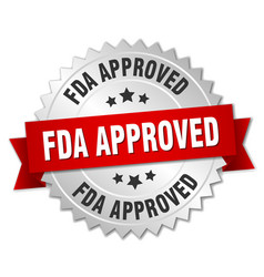 Fda approved round isolated silver badge vector