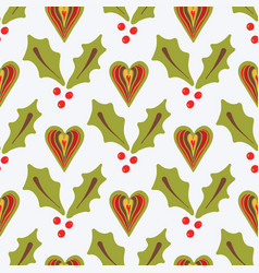 festive christmas holly berries vector image