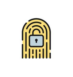 fingerprint with lock cryptocurrency digital key vector image