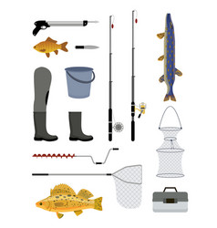 Fishing tools and equipment vector