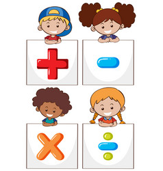 Four kids with different math signs vector