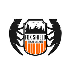 fox and shield logo designs template vector image