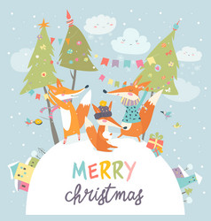 Funny foxes friends celebrating christmas vector