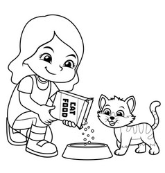 girl feeding her pet cat bw vector image