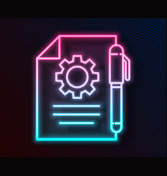 glowing neon line document settings with gears vector image
