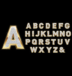 Golden diamond shiny letters isolated on black vector