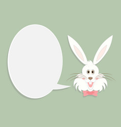 greeting card with with white easter rabbit vector image