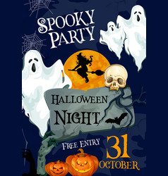 Halloween holiday horror party ghost poster vector