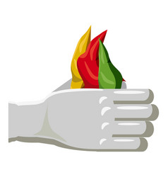 hands of a magician with colorful scarves icon vector image
