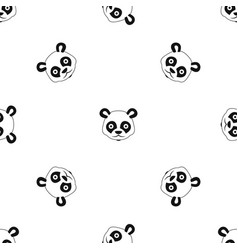 Head of panda pattern seamless black vector