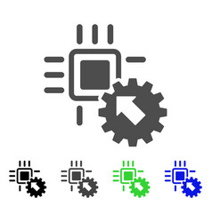 Hitech processor and gear integration flat icon vector