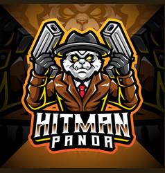 hitman panda esport mascot logo design vector image