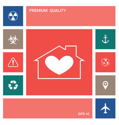 house with heart symbol elements for your design vector image