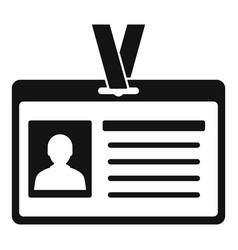 Id badge icon simple style vector