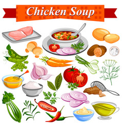 Ingredient for indian chicken soup recipe with vector