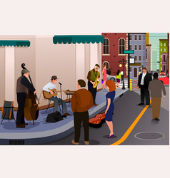jazz musician playing on the street vector image