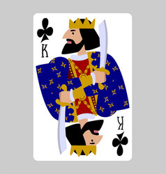 King clubs playing card in funny flat modern vector