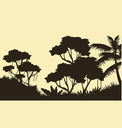Landscape of tree on forest silhouette vector
