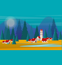 landscape small village against a forest and vector image