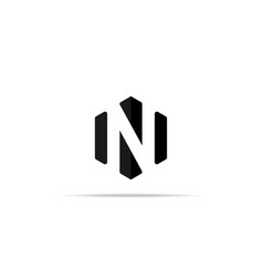 letter n logo icon in polygon hexagonal shape vector image