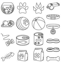 line art black and white 18 pet shop elements vector image