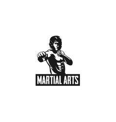 martial art fighting silhouette logo vector image