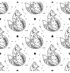 mystical fox with moon and stars stars vector image