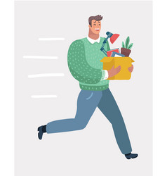 new job concept with box vector image